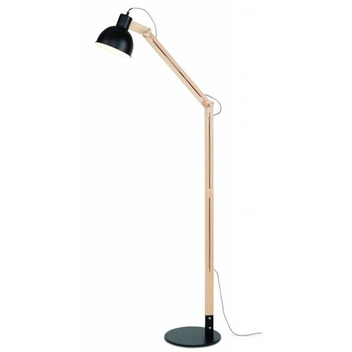 It's About RoMi Vloerlamp ijzer/essenhout Melbourne, zwart/naturel