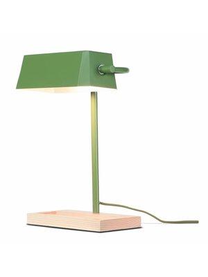 It's About RoMi Tafellamp ijzer/hout Cambridge, olijfgroen/naturel