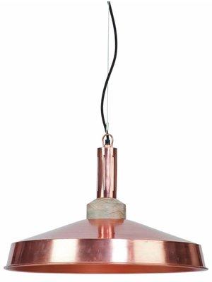 It's About RoMi Hanglamp ijzer/hout Detroit rond, koper/naturel