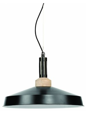 It's About RoMi Hanglamp ijzer/hout Detroit rond, zwart/naturel