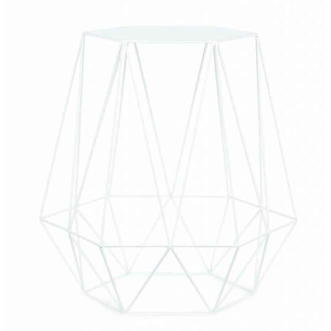 Bijzettafel ijzerdraad 6-hoek/diamant, wit