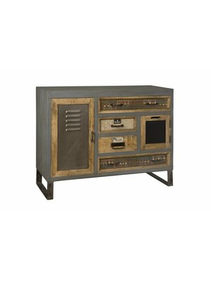 RENEW Industrieel metalen Dressoir met Vintage laden 117cm breed