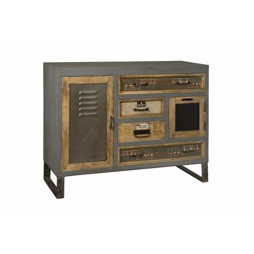 RENEW Industrieel metalen Dressoir met Vintage laden 117cm breed