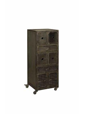 RENEW Industriële Ladenkast Metaal Zwart 114cm