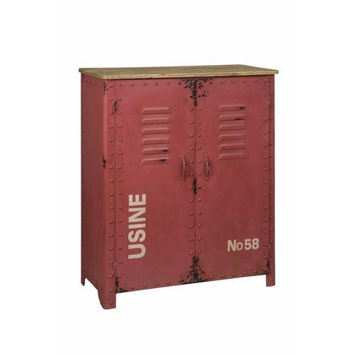 RENEW Industriële Vintage Lockerkast Rood 103cm hoog