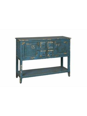 RENEW Vintage Wandkast Verweerd Hout Blauw 87cm hoog
