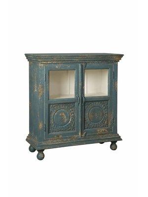 RENEW Vintage Wandkast Blauw 2-Deurs 104cm hoog