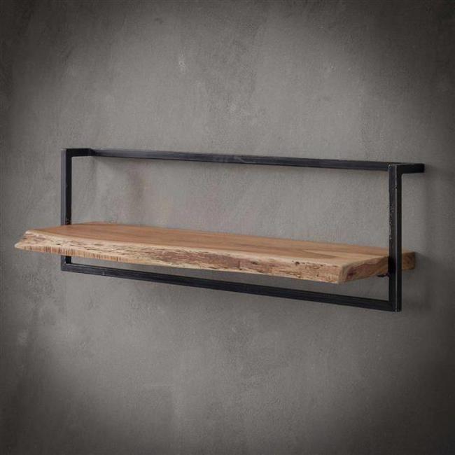 wandplank edge 30cm 65cm hoog / massief acacia naturel - industrieel