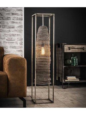 Alaska Vloerlamp rechthoek mesh hangend / Antiek Nikkel