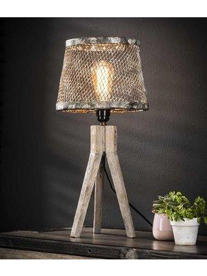 Alaska Tafellamp massief houten driepoot / Verweerd koper
