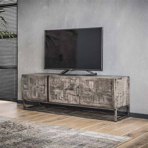 Tv Kast Antiek Art.Tv Meubel Grado Massief Mango Grijs Antiek Industrieel Wonen