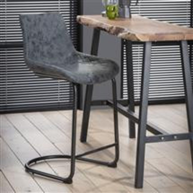 Barstoel cup swingframe ronde buis- Wax PU zwart