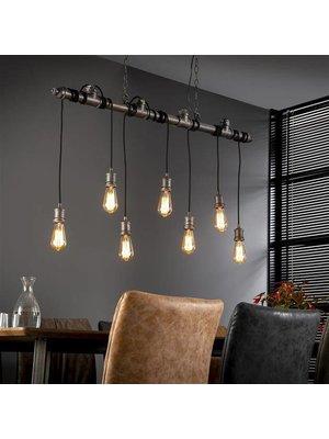 Alaska Hanglamp 7L industrial tube wikkel / Oud zilver