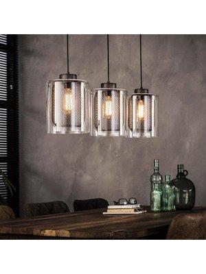 Alaska Hanglamp Glas met Raster, 3-Lampen Ø20cm