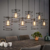 Hanglamp Curl Zwart, 7-Lamps Ø20cm
