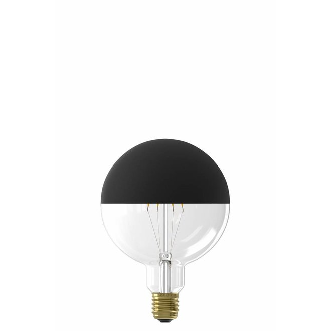Calex LED Full Glass Filament Globe Lamp240V 4W 190lm E27 G125, Top mirror Black 2000K dimmable, energy label A