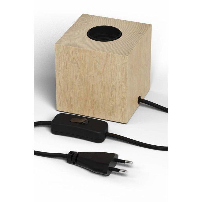 Tafellamp Vierkant Blok Houtlook