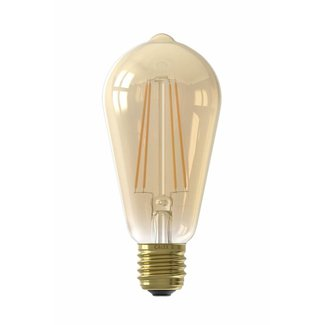 Calex Holland Calex LED Full Glass LongFilament Rustik Lamp 240V 6W 430lm E27 ST64, Gold 2100K Dimmable, energy label A+