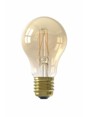 Calex Calex LED Full Glass Filament GLS-lamp 240V 6,5W 600lm E27 A60,  Gold 2100K CRI80 Dimmable, energy label A+