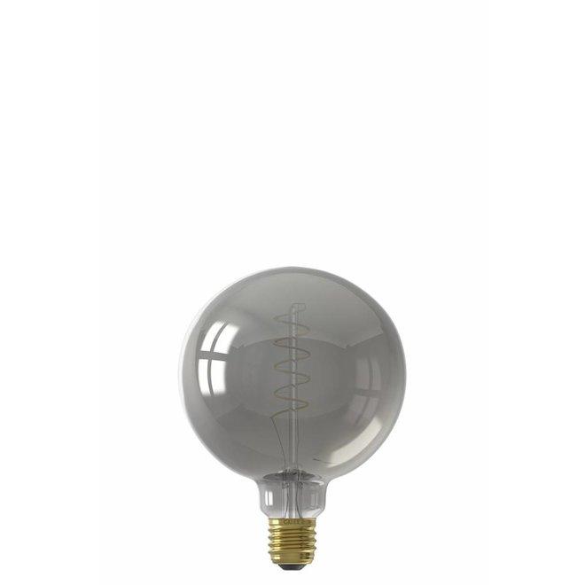 Calex LED Full Glass Flex Filament Globe Lamp 240V 4W 100lm E27 G125, Titanium 2100K Dimmable, energy label B