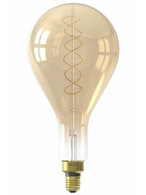 Calex Calex LED Full Glass Flex Filament Splash 240V 4W E27 PS160, Gold 2100K Dimmable, energy label A