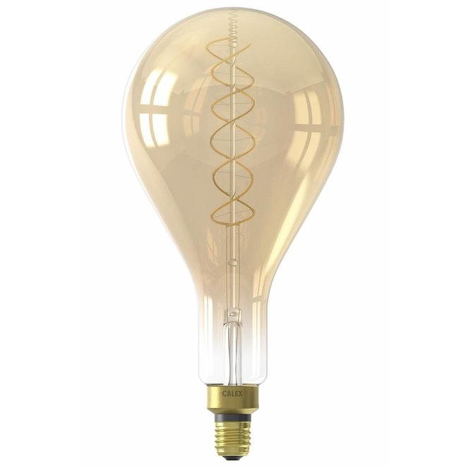 Calex LED Full Glass Flex Filament Splash 240V 4W E27 PS160, Gold 2100K Dimmable, energy label A