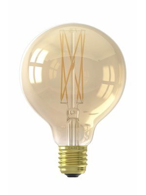 Calex Calex LED Full Glass LongFilament Globe Lamp 240V 4W 320lm E27 GLB95, Gold 2100K Dimmable, energy label A+