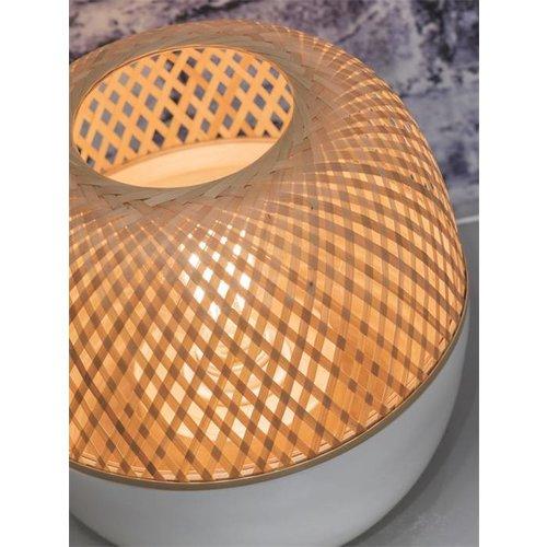 GOOD&MOJO Tafellamp bamboo Mekong, wit/naturel, L