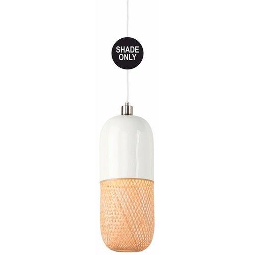 GOOD&MOJO Shade Hanglamp bamboo Mekong tube, wit/naturel