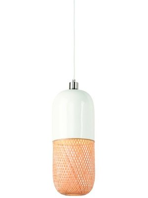 GOOD&MOJO Hanglamp bamboo Mekong tube, wit/naturel