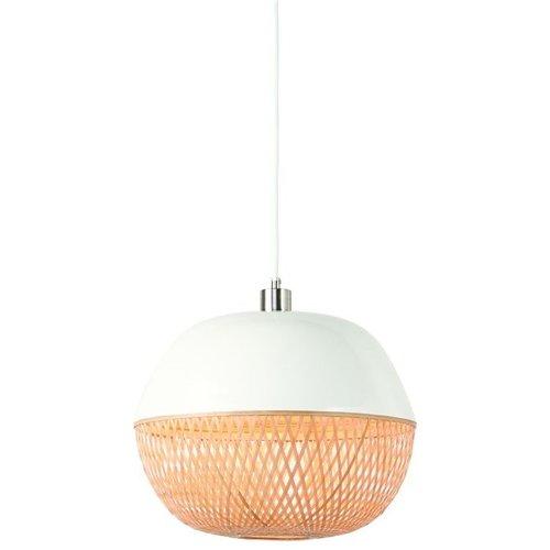 GOOD&MOJO Hanglamp bamboo Mekong rond, wit/naturel
