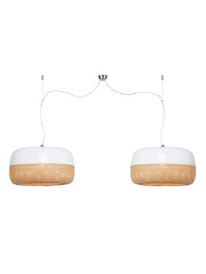 GOOD&MOJO Hanglamp Mekong bamboo flat L/double shades, wit/naturel
