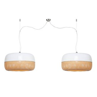 GOOD&MOJO Hanglamp Mekong bamboo flat L/double shades, wit/naturel