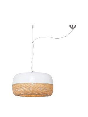 GOOD&MOJO Hanglamp Mekong bamboo flat L/single shade, wit/naturel