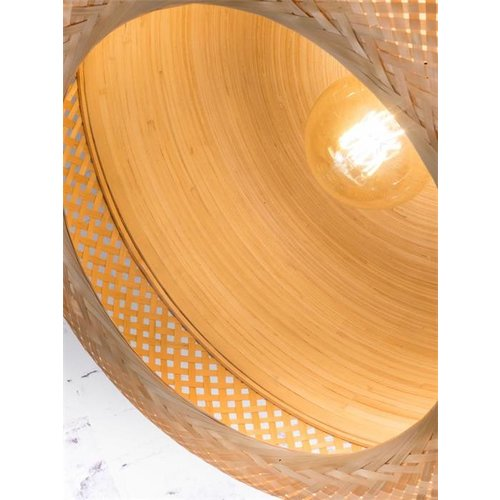 GOOD&MOJO Hanglamp Mekong bamboo flat L/single shade, wit/naturel