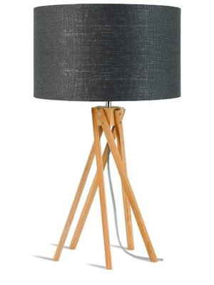 GOOD&MOJO Tafellamp bamboo 5-poten Kilimanjaro, eco linen donker grey