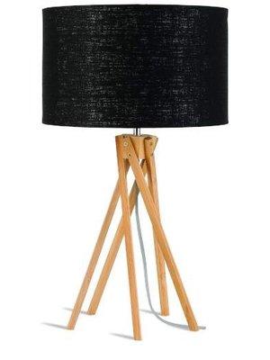 GOOD&MOJO Tafellamp bamboo 5-poten Kilimanjaro, eco linen zwart