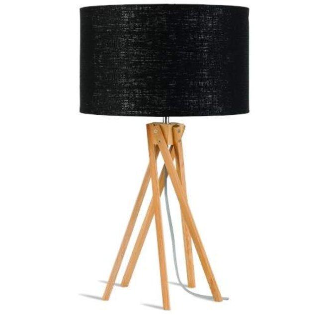GOOD&MOJO Tafellamp bamboo 5 poten Kilimanjaro, eco linen zwart