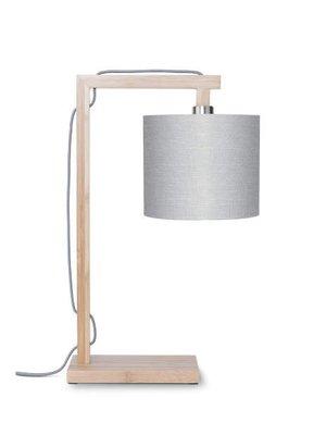 GOOD&MOJO Tafellamp Himalaya bamboo, eco linen, licht grijs