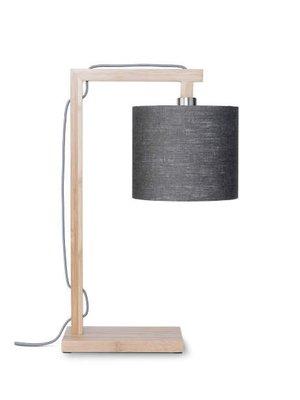 GOOD&MOJO Tafellamp Himalaya bamboo, eco linen, donker grey