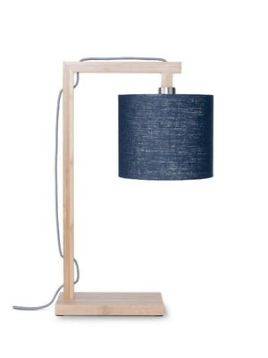 GOOD&MOJO Tafellamp Himalaya bamboo, eco linen, Denim blauw