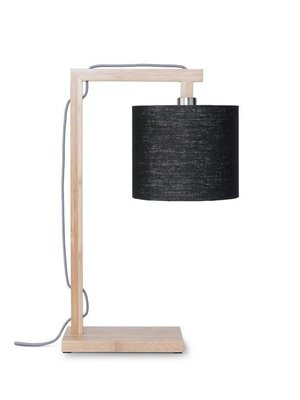GOOD&MOJO Tafellamp Himalaya bamboo, eco linen, zwart