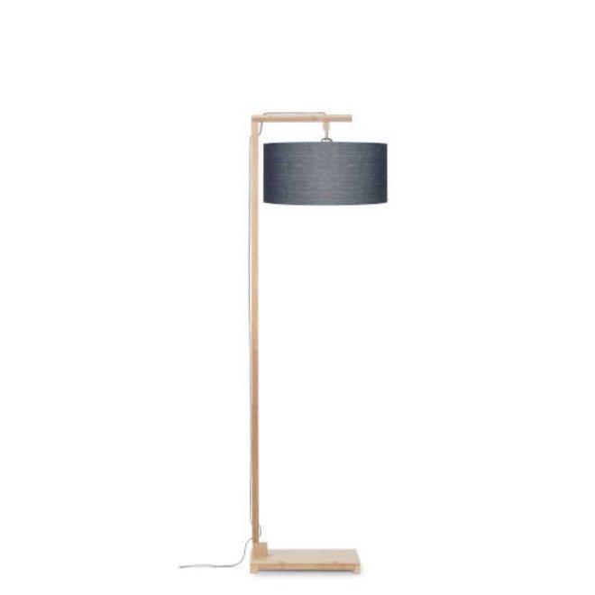 Vloerlamp Himalaya bamboo, eco linen, donker grey