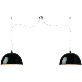 GOOD&MOJO Hanglamp bamboo Halong, 2-shade Hang systeem, zwart