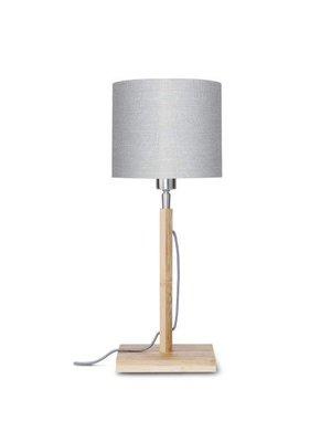 GOOD&MOJO Tafellamp Fuji bamboo, eco linen, licht grijs