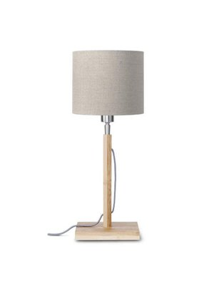 GOOD&MOJO Tafellamp Fuji bamboo, eco linen, donker