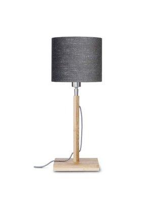 GOOD&MOJO Tafellamp Fuji bamboo, eco linen, donker grey