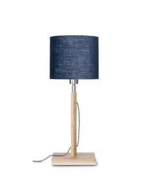 GOOD&MOJO Tafellamp Fuji bamboo, eco linen, Denim blauw