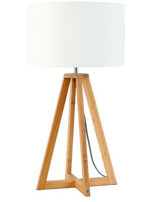 GOOD&MOJO Tafellamp bamboe 4-poten Everest, linen wit