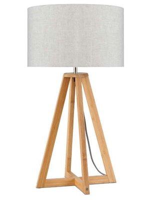 GOOD&MOJO Tafellamp bamboe 4-poten Everest, linen licht